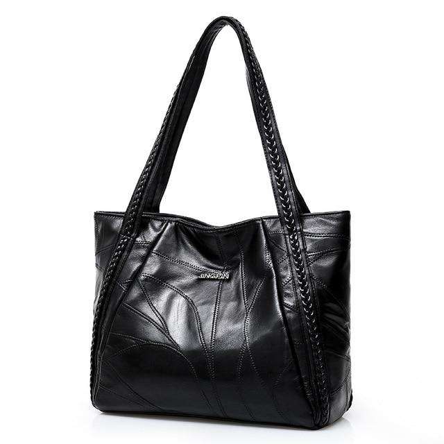 Women Tote Bag Genuine Sheepskin Patchwork Casual Hand Bags Big Capacity Woman Shoulder Bag Large Ladies Shopping Bags 2019 4