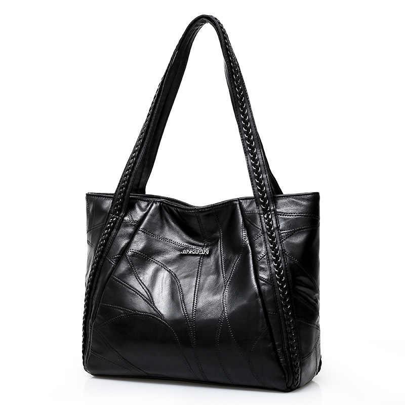 の女性のトートバッグ本シープスキンパッチワークカジュアルハンドバッグ大容量の女性のショルダーバッグ大の女性のショッピングバッグ 2019