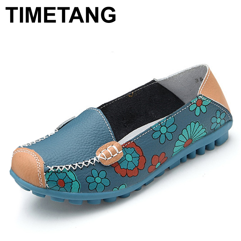 TIMETANG Color Women Casual Genuine leather Boat Comfortable Soft Gommino Flat Ventilation Fashion Printing Flat Slip on Shoes cresfimix zapatos women cute flat shoes lady spring and summer pu leather flats female casual soft comfortable slip on shoes