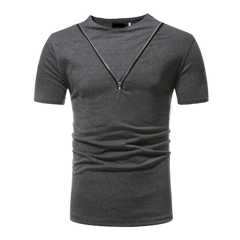 New Mens Clothing T Shirts Fashion Stand Collar Solid Color Zipper Zip Stitching Casual Short Sleeve Tshirt 3 Colour