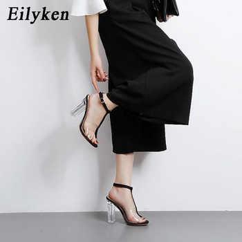 Eilyken 2020 New PVC Women Sandals Sexy Clear Transparent Ankle Strap High Heels Party Sandals Women Shoes Size 35-42