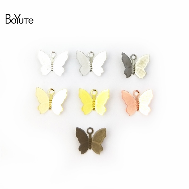 BoYuTe 100Pcs 11*13MM Butterfly Charms Diy Hand Made Metal