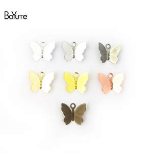BoYuTe 100Pcs 11*13MM Butterfly Charms Diy Hand Made Metal Brass Accessories Parts for Hair Jewelry Making
