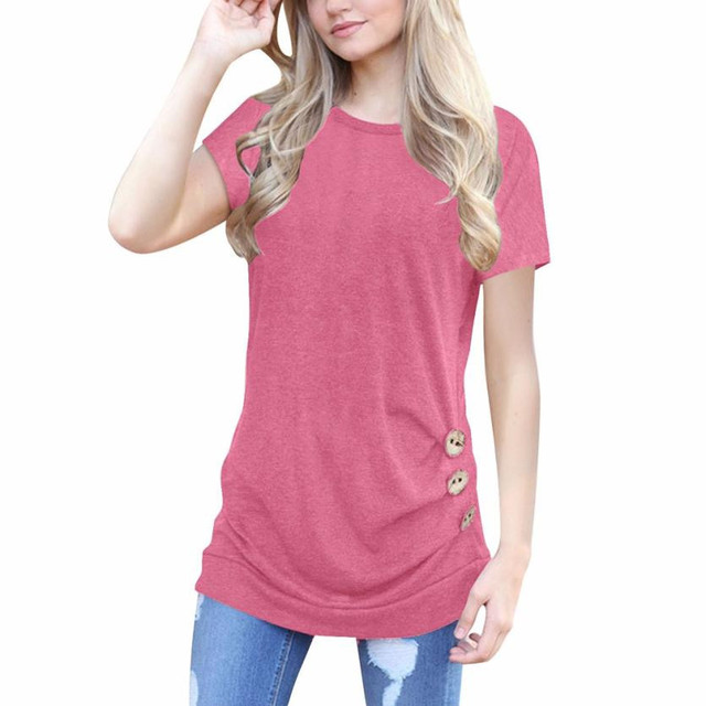 b43d084eb79 Summer Solid Pink Tops Women Short Sleeve Casual Loose T Shirt Girls Ladies  Round Neck Buttons Tunic Shirts Girls Cropped  Ju