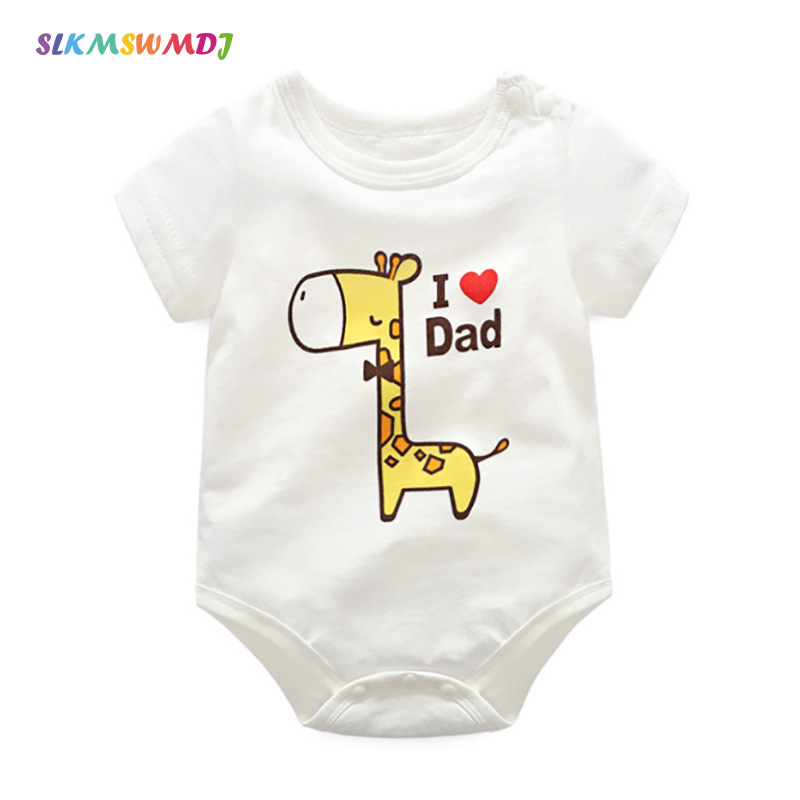 SLKMSWMDJ Summer Cotton Cartoon Baby Onesies Boys Girls Baby Onesies Short Sleeve Body Suits Baby Clothing For 3M 2 Years old in Bodysuits from Mother Kids