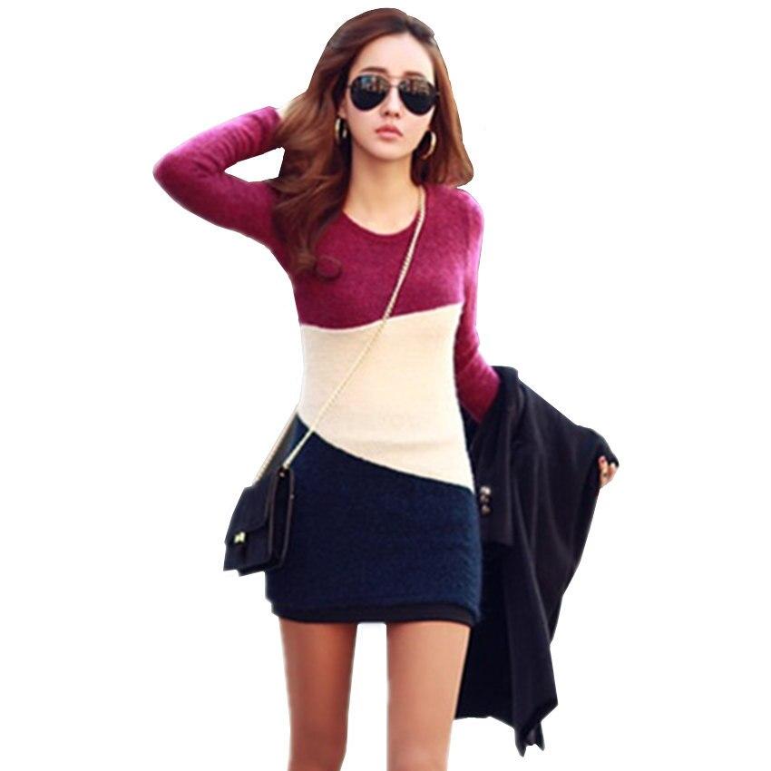 2018 Frühling & Herbst Neue Mode Frauen Pullover Kleid Pullover Beiläufigen Langen Ärmeln Gestrickte Kleidung Einfach Zu Schmieren