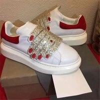 Роскошные Дизайн Тренеры кроссовки Женская Мода Искра горный хрусталь на шнуровке стильные слипоны обувь повседневная обувь на платформе