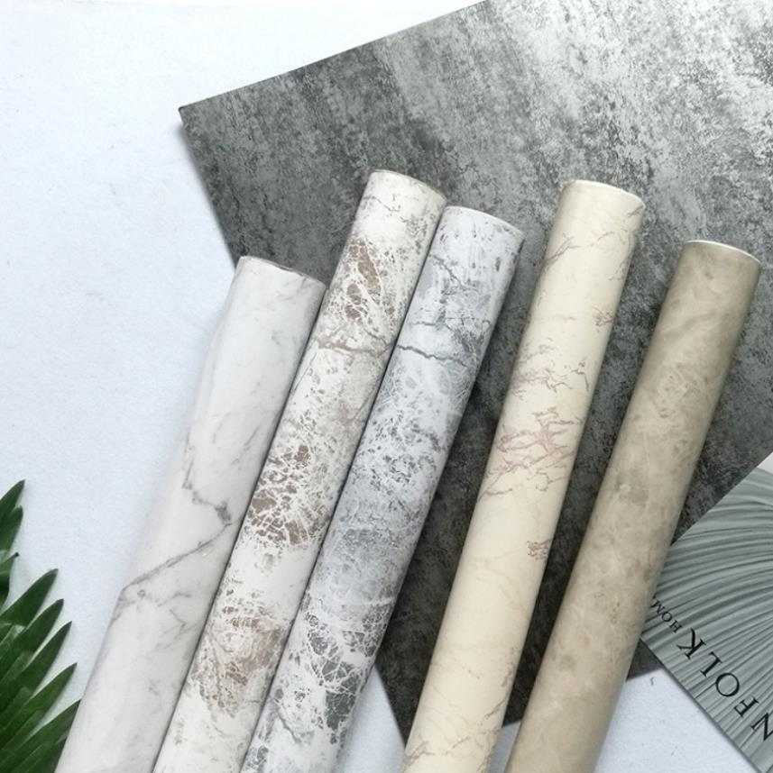 Marble Brick Grain Self -Adhesive PVC Wallpaper Stickers For Living Room Bedroom Kitchen Home Decor