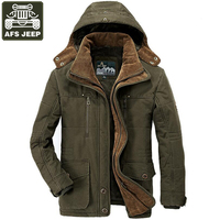 AFS JEEP Brand Winter Jacket Men Thick Warm Parka Coat Hooded Collar Detachable Hat Wool Liner