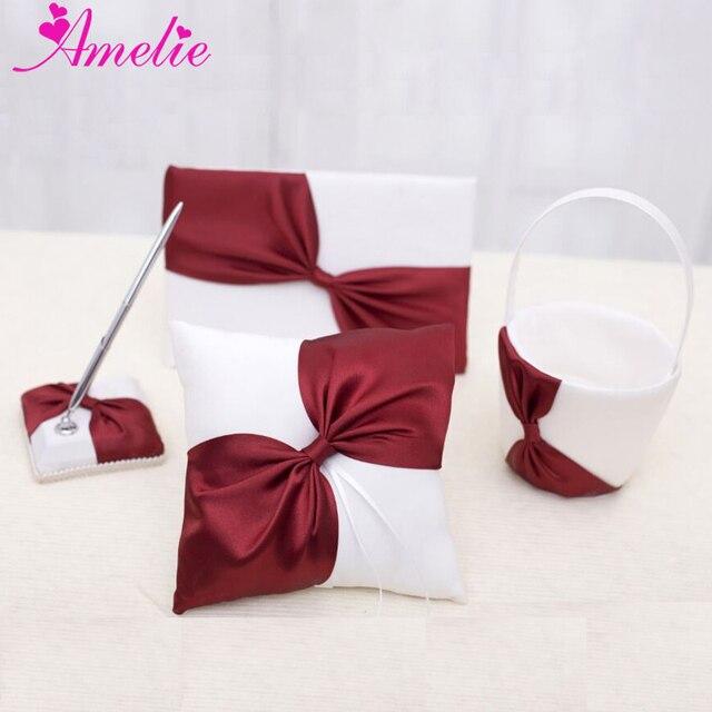 ivoire tissu avec oblique bourgogne arc decorations de mariage 4 pcs ensemble anneau oreiller panier livre