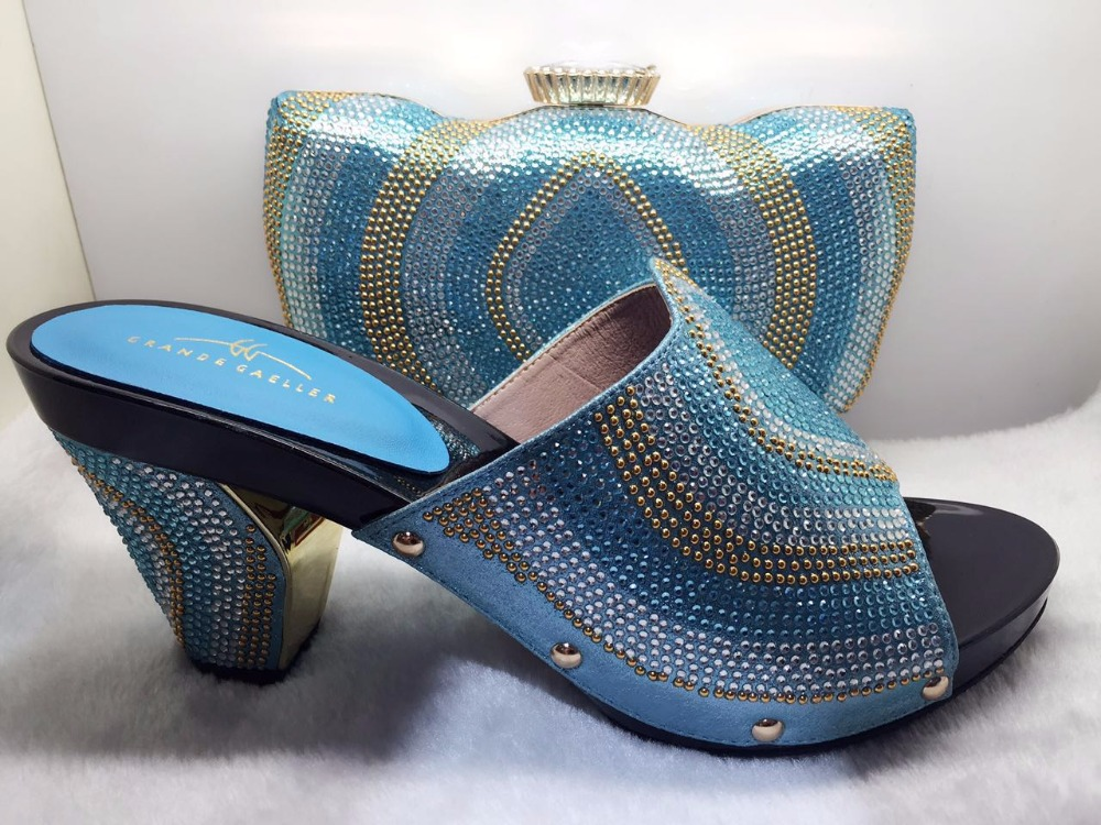 ФОТО 2017 Latest Fashion Italian African Wedding Shoes And Bag High Quality Matching Italian Shoes And Bag Set With Stones TT17-55