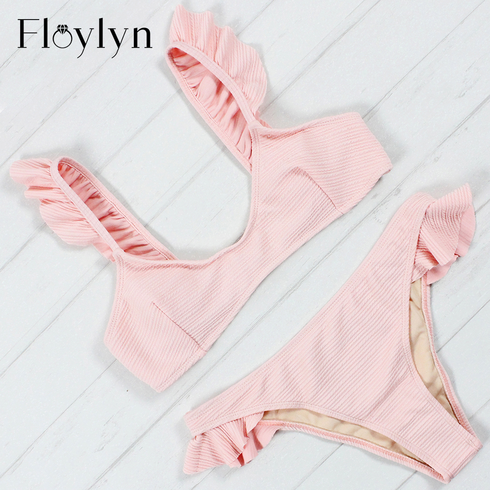 Floylyn Women Sexy Ruffled Bikini Set Swimwear 2018 New Push-Up Beach Halter Bandage Swimsuit Bathing Suit Maillot De Bain Femme