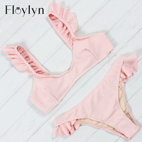 Floylyn Women Sexy Ruffled Bikini Set Swimwear 2018 New Push Up Beach Halter Bandage Swimsuit Bathing