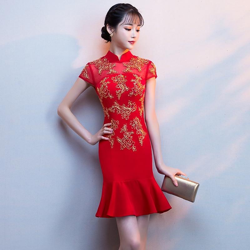 Chinese Traditional Embroidery Short Qipao Female New Mermaid Slim Cheongsam Asian Bride Wedding Evening Party Dress