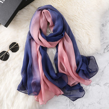 LARRIVED New 100% Pure Silk Scarves luxury silk scarf two tone gradient satin Spring Autumn Female Large Size Long