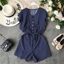 NiceMix 2019 Summer High-waist Casual Resort Playsuit Single Breasted V-neck Fashion Broad-legged Sashes Women Beach Wear new