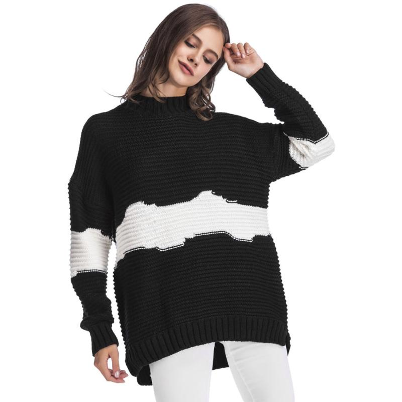 Sweater Pullover Women 2018 New Aumtun Winter Splicing Color White Clouds Casual Loose Long Sleeve Pullovers Sweater