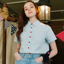 Blouse Fashion Women Short Sleeve Cute Heart-shaped Button Pockets Short Blouses Female Shirts Summer New 2017 Blue White