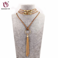 DANZE Women's Leather Chain lariat & tassel Necklace 2018 Long Boho Gothic Feather Pendant Necklace Women Collier Jewelry