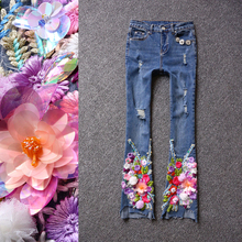 Spring and Summer Fashion Sequins Embroidered Flare Pants Female Casual Slim Stretch Skinny Denim Jeans