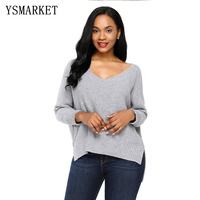 Women Clothes Winter Ladies Sweaters Gray Pink Oversized Knit High low Slit Side Korean Sweater Pullover E27680