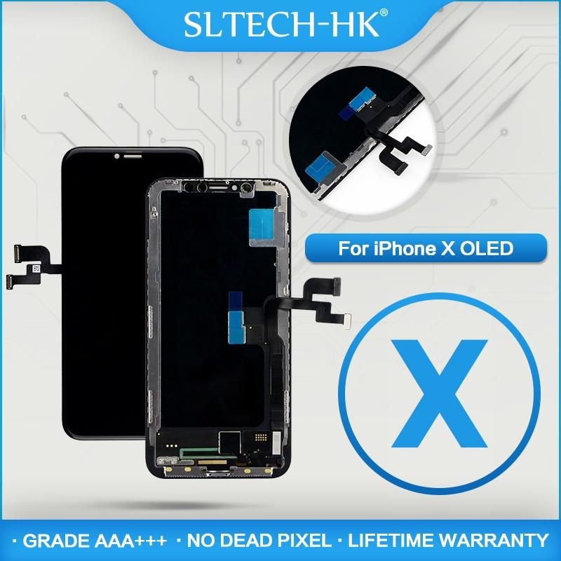 AMOLED для iPhone X OLED с сенсорный дигитайзер Ассамблеи ЖК дисплей без мертвых пикселей экран Замена дисплей гарантия AAA +