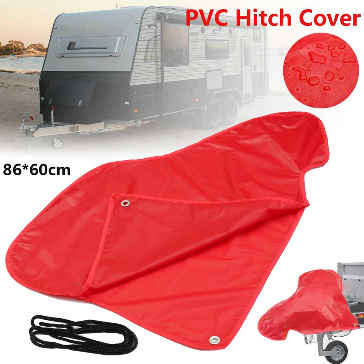 Red PVC Car Waterproof Trailer Towing Hook Connector Hitch Cover  For Caravan Tailer Hitch Coupling Lock Dust Protect