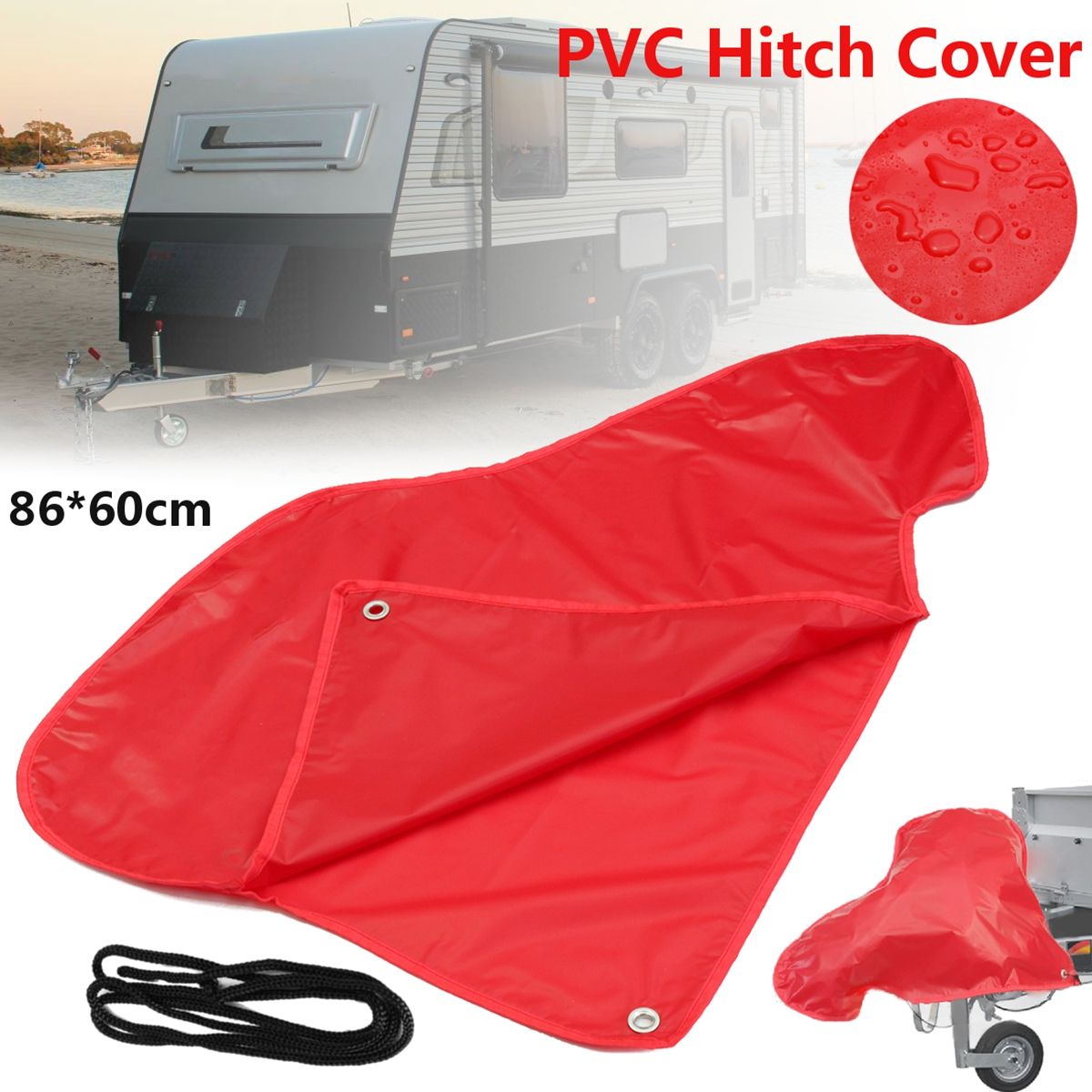 FREE Delivery NEW PVC RED  stripe Waterproof Universal Caravan Tow Hitch Cover