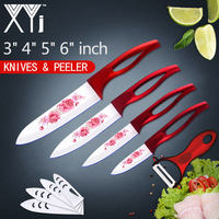 XYj Classic Design Flower Pattern Blade Ceramic Kitchen Knives Sets 3 4 5 6 Inch Paring