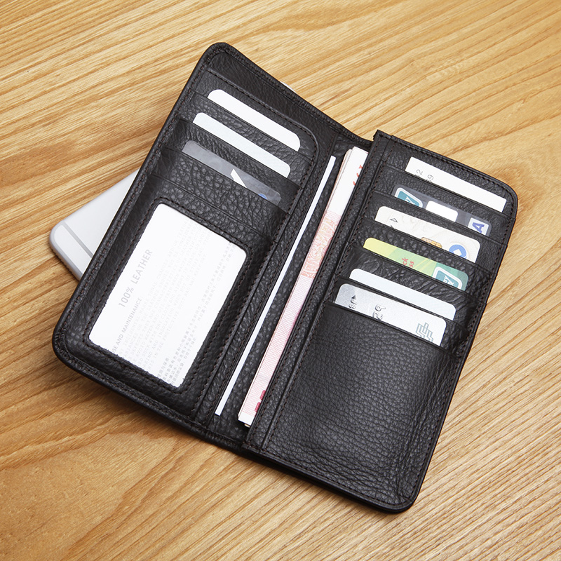 LANSPACE leisure Men s leather head layer cowhide leather long wallet Men s brand wallet high