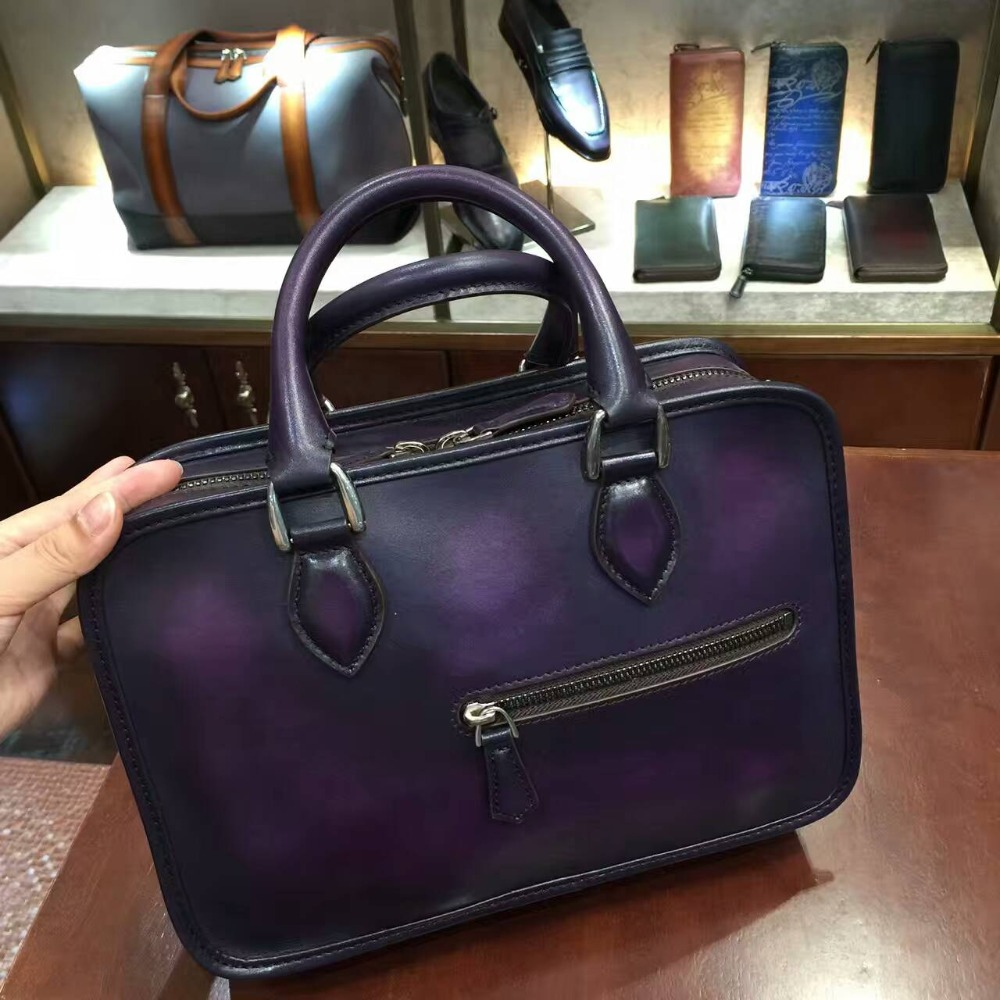 TERSE_Factory to customer service luxury mans handbag handmade patina genuine leather mini briefcase womens tote bag engraving