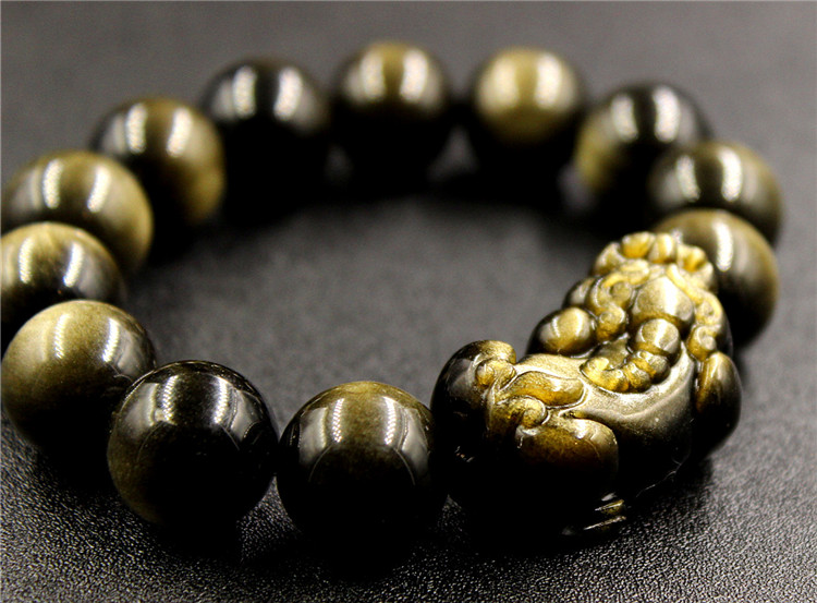 14mm 100% Natürliche Gold Obsidian Edelstein Armband Pi Xiu Anhänger Runde Perlen Stretch-armbänder Für Männer Dame Beste Geschenk Aaaaa Heller Glanz