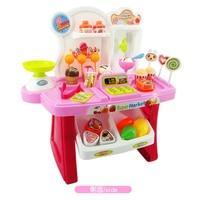 34 pcs Brinquedos Pretend Play Mini Supermercado Caixa Registradora Carrinho de Compras Gift Set Levert Dropship