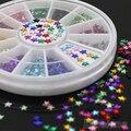 5 conjuntos de 12 Cores 3D Pentagrama Adesivos DIY Decoração Beleza Pregos Da Arte Do Prego Roda Dicas 4DGN