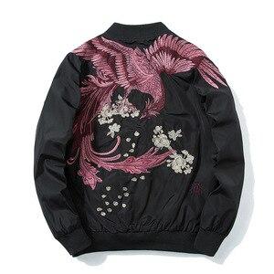 Image 2 - Primavera piloto bombardeiro jaqueta masculina feminino pássaro bordado jaqueta de beisebol moda casual jovens casais casaco japão streetwear