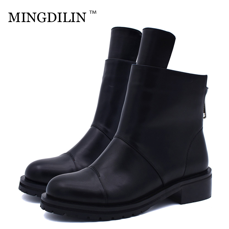 MINGDILIN Women's Winter Martin Boots Woman Ankle Boots Plus Size 42 Chelsea Boots Fashion Black Zipper Winter Gothic Shoes 2018 2018 watch men lige mens watches top brand luxury full steel business quartz casual waterproof sport watch relogio masculino box