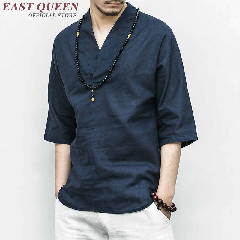 Traditional chinese clothing for men male Chinese mandarin collar shirt blouse wushu kung fu outfit tops linen shirt KK2301