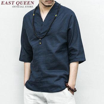 Tradycyjna chińska odzież dla mężczyzn mężczyzna chiński stójka koszula bluzka wushu kung fu strój topy koszula lniana KK2301 tanie i dobre opinie Dzianiny EASTQUEEN COTTON Linen