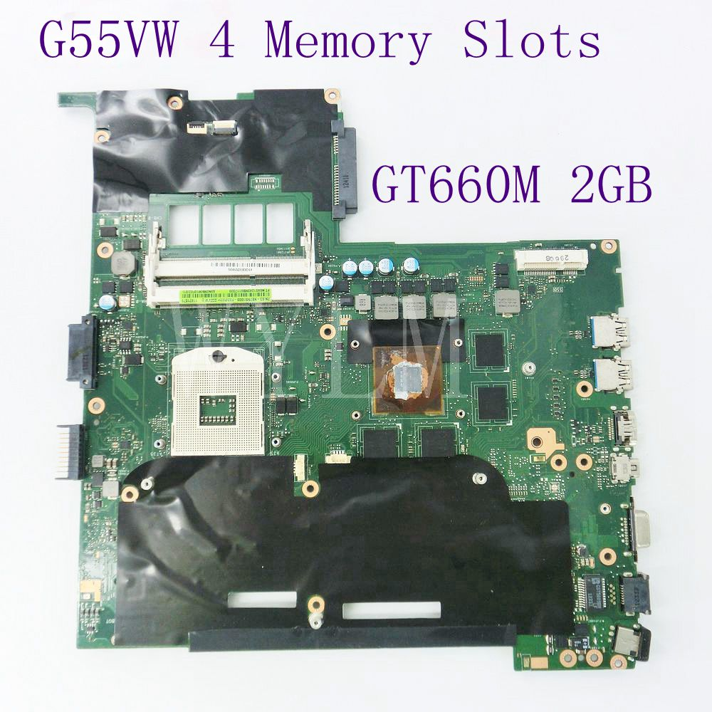 цена G55VW 4 Memory Slots GT660M 2GB N13E-GE-A2 motherboard for ASUS G55V G55VW laptop mainboard DDR3 60-NB7MB1000-F02 Fully tested
