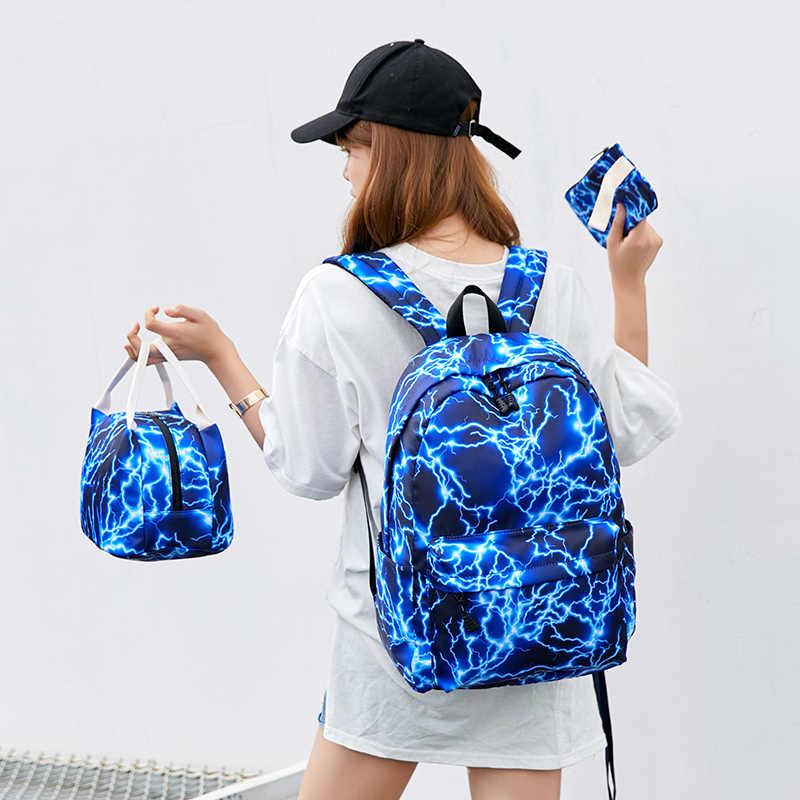 Fengdong torby szkolne dla moda dla dziewcząt nastolatek wielofunkcyjna torba zestaw wodoodporny nylon tornister zestaw plecak szkolny dla dzieci