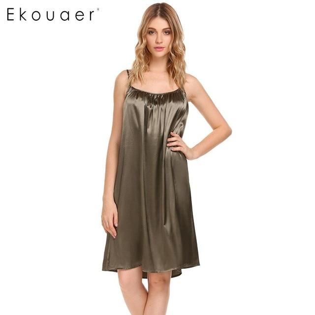 3bbb7d5f3 Ekouaer Women Casual Nightgowns Sleepwear Sleeveless Solid Ruched Nightdress  Summer Loose Slip Chemises Sleep Dress Nightwear