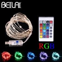 BEILAI RGB LED String Lights Waterproof 5M 50LED 5V USB Fairy LED Christmas Light Sliver Wire