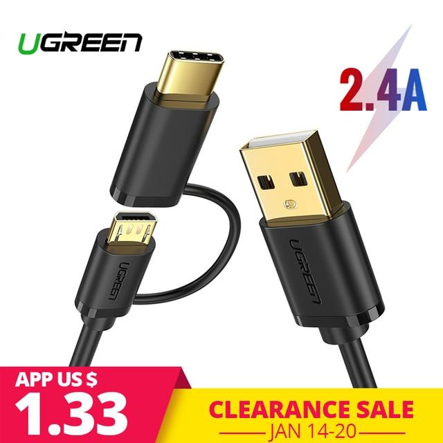 Ugreen Micro Cavo USB per Samsung S9 Più 2 in 1 USB di Tipo C Cavo di Ricarica Veloce di Dati USB C cavo per Xiaomi Cavi per cellulari e smartphone
