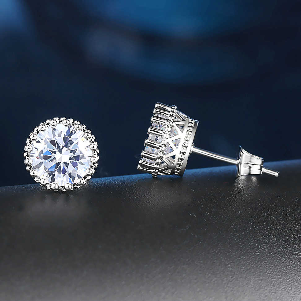 ZHOUYANG Classic Crown princess Cubic Zirconia Silver Color Stud Earrings Fashion Wedding Party Jewelry ZYE848