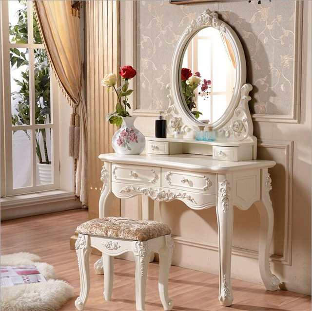 US $580.0 |European mirror table modern bedroom dresser French furniture  white french dressing table o1180-in Dressers from Furniture on AliExpress