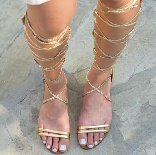 Toe Sandales 2018 Gladiateur the Dames Bottes Filles Cut Picture up Nouvelle As outs Or Femme Plat Chaussures D'été Dentelle Sexy Over Peep genou qxn6vd76Z