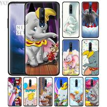 Cartoon cute Baby Dumbo Elephant Phone Case for Oneplus 7 7Pro 6 6T Oneplus 7 Pro 6T Black Silicone Soft Case Cover