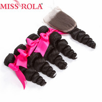 Miss Rola Hair Pre Colored Indian Loose Wave 4 Bundles With Closure 100% Non Remy Human Hair Extension #1B Natural Black