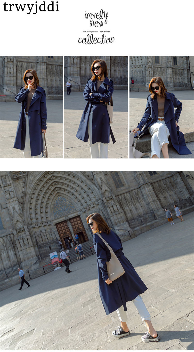 Fashion Windbreaker Coats Long section 19 New Spring Autumn Coat Women Trench Coats Korean Loose Casual Ladies Outerwear N402 14