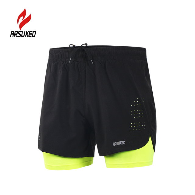 4b1f98392af Arsuxeo B179 Men s Running Shorts Jogging Quick Drying 2-in-1 Breathable  Active Training